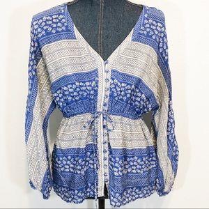 Anthropologie Edme & Esyllte blue white silk top